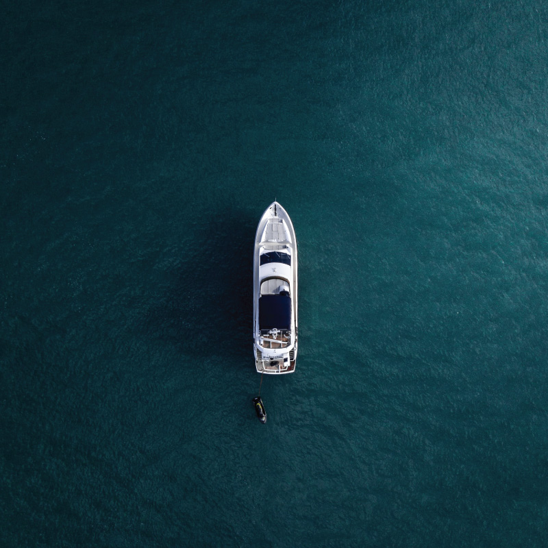 satellite tracking on a boat in the ocean